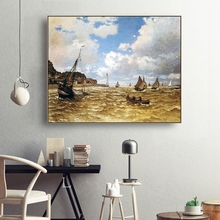 Laeacco Monet Famous Wall Artworkwork Mouth of the Seine at Honfleur Posters and Prints Canvas Painting Home Living Room Decor