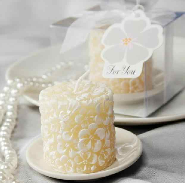 Wedding favor gift and giveaways - Wedding party Souvenir Plumeria Flowers - Scented Candle with Ceramic Candle Holder 100pcs /
