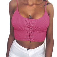 Comfortable Fashion Women Summer Sexy Cropped Tops Tee Shirts Lace Up Bandage Crop Top Vest Tank