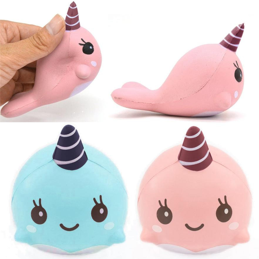 2017 Hot Decompression toys 9CM Soft Whale Cartoon Squishy Slow Rising Squeeze Toy Phone Straps ...