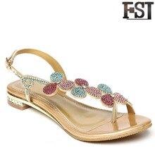 купить FSJ Sandals Women Shoes Genuine Leather Sheepskin Ankle Strap Flat With Low Heel Buckle Strap Fashion Crystal EU Size 33-41 по цене 2930.23 рублей