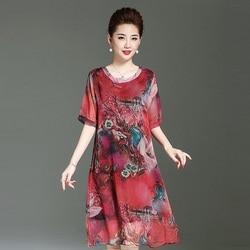 Nieuwe vrouwen kleding 100% zijde jurken print vrouwen jurken o-hals nationale stly kleding moederschap jurken zwangerschap kleding