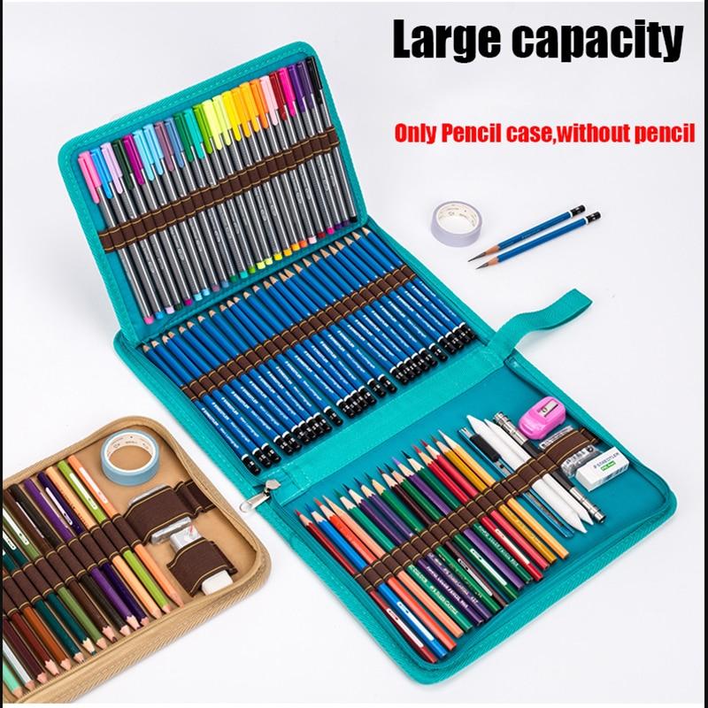 3 Color 36/48/72 Holes Folding Canvas Roll Pencil Case Roll Pouch Hole Makeup Comestic Brush Pen Storage Pencil Box Penalty 3030