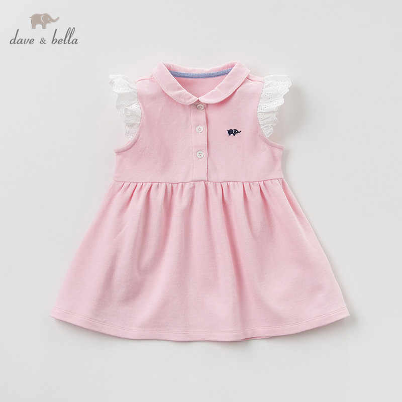 DB10418 dave bella summer baby girl's princess cute solid dress children fashion party dress kids infant lolita clothes