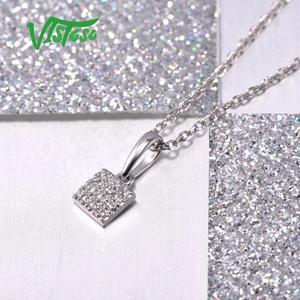 Image 5 - VISTOSO Gold Pendants For Women Authentic 14K 585 Rose White Gold Sparkling Diamond Simple Square Pendant Wedding Fine Jewelry