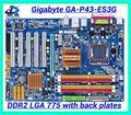 O envio gratuito de 100% de desktop motherboard mainboard original para Gigabyte GA-P43-775 ES3G DDR2 LGA 775 Gigabit Ethernet