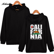 Aikooki Californi Zipper Hoodies Men Women United States California Cotton Hip Hop Autumn Winter Hoodie Zipper Sweatshirt Clothe(China)