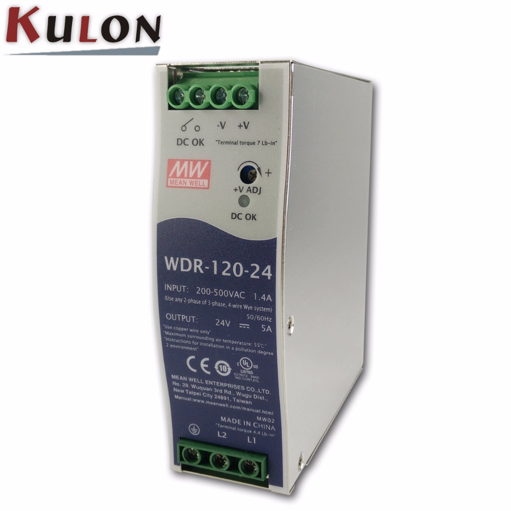 Genuine Meanwell WDR 120 24 120W 5A 24V slim wide input Industrial DIN Rail Power Supply