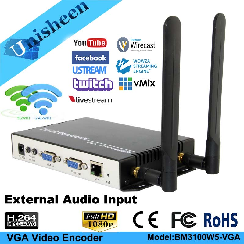 Unisheen H.264 VGA Video Encoder Onvif Low Lantency WIFI youtube Transmit compus computer monitor ip rtmp video live streaming