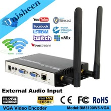 Unisheen-encodeur de vidéo H.264 VGA, wi-fi, youtube, transmetteur d'ordinateur, ip rtmp, streaming en direct