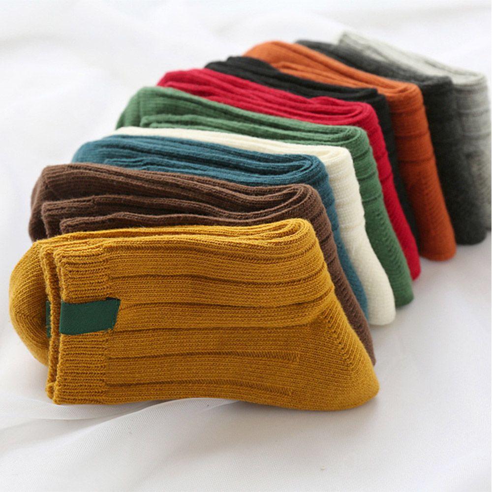 Female Lady Autumn Winter Cotton Socks Comfortable Warmer Knitting Striped Socks Black Red Green Blue Etc