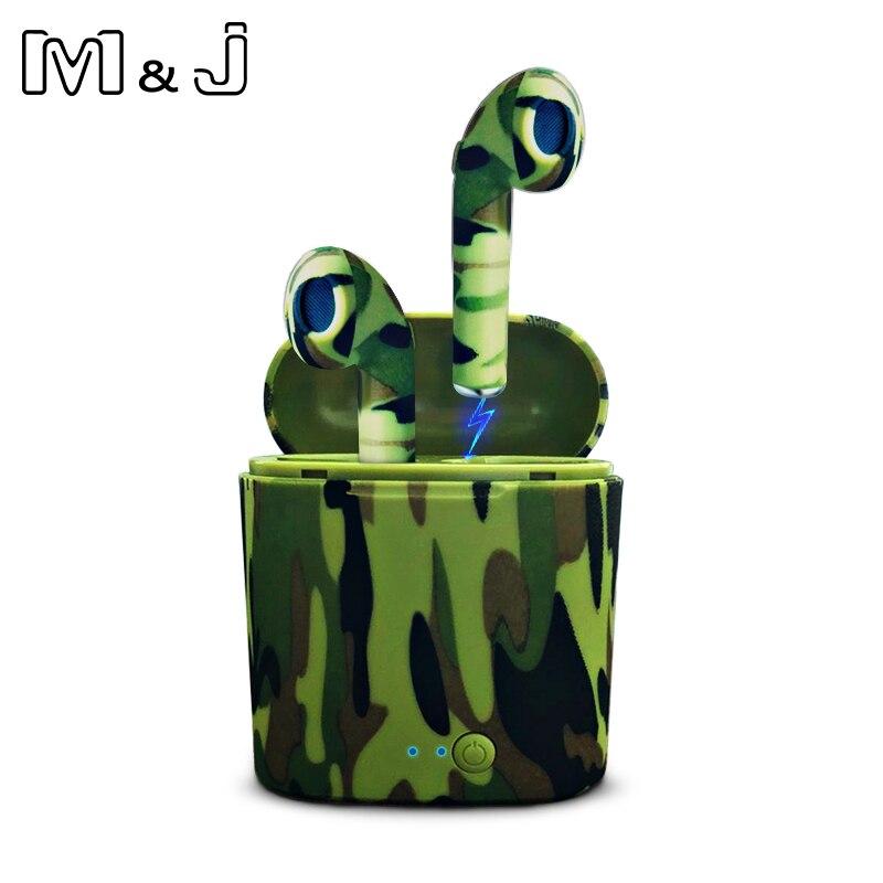 M & J I7 TWS camo Écouteurs Ture Sans Fil Bluetooth Écouteurs Doubles Jumeaux Écouteurs Stéréo Musique Casque Pour Tous Les Téléphones Bluetooth Mobile