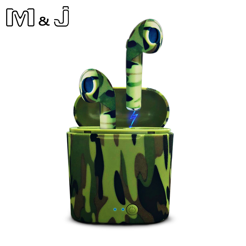 M&J I7S TWS camo Earbuds Ture Wireless Bluetooth Double Earphones Twins Earpieces Stereo Music Headset For All Bluetooth Mobile