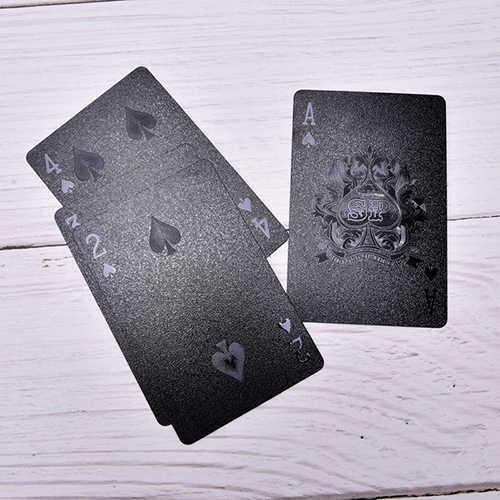 1 PCS Deck Poker Wasserdichte Kunststoff PVC Spielkarten Set Schwarz gold Farbe Poker Karte Sets Klassische Zaubertricks Werkzeug poker Spiele