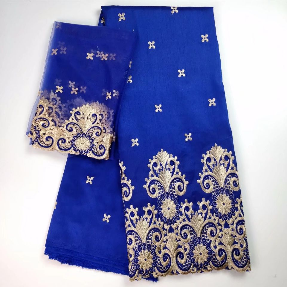 5 Yards Hot sale royal blue african George lace fabric match 2yards french net lace embroidery set for clothes WH5 1 in Lace from Home Garden
