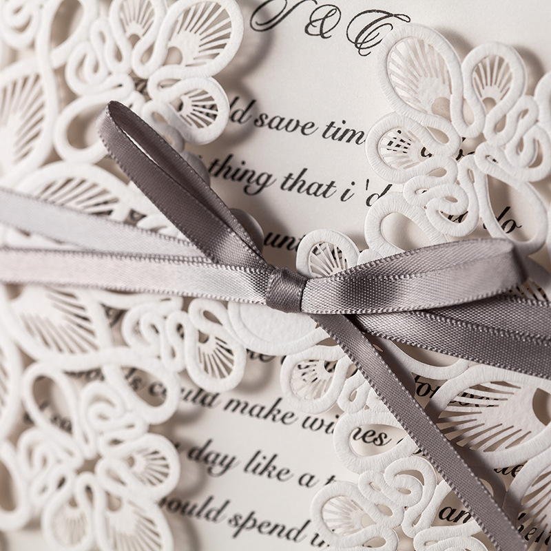 100 Piece Laser Cutting Wedding Invitations With Envelope,White ...