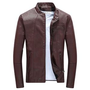Image 5 - Autumn Winter Mens Casual Zipper PU Leather Jacket  Motorcycle Leather Jacket Men Leisure Clothing Mens Slim Leather Jacket