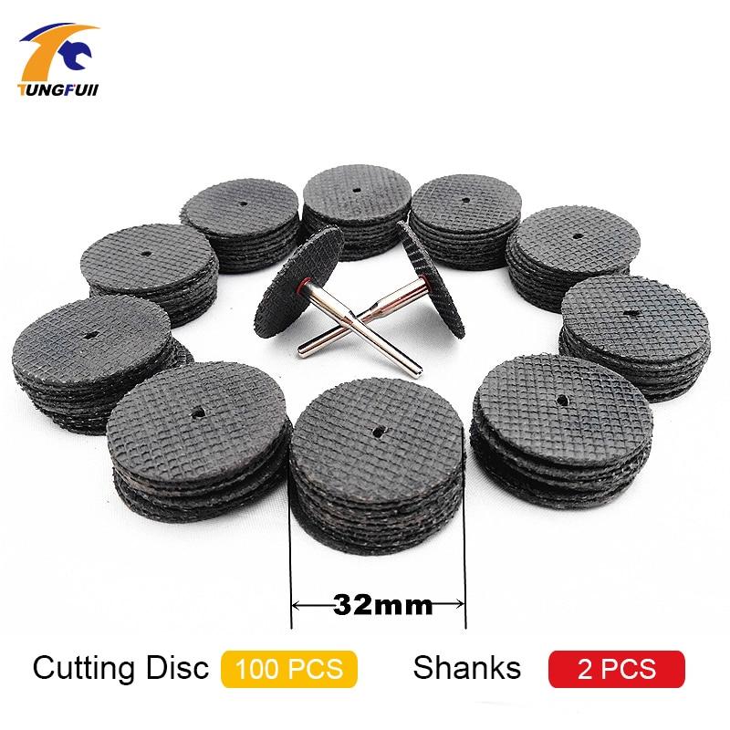 Tungfull 100pcs 36mm Kit de disco de corte de rueda de corte de resina para herramienta de hobby rotativa Dremel Bit Dremel Accesorios + 2 piezas Mandril