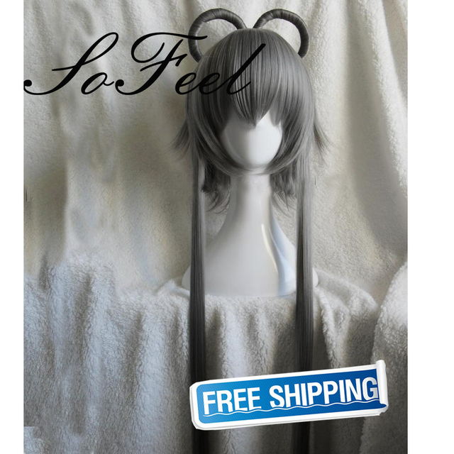 Sofeel synthetic wigs vocaloid china Luo Tianyi split type coil waxiness ponytail grey wig perruque cheveux synthetic hair wig