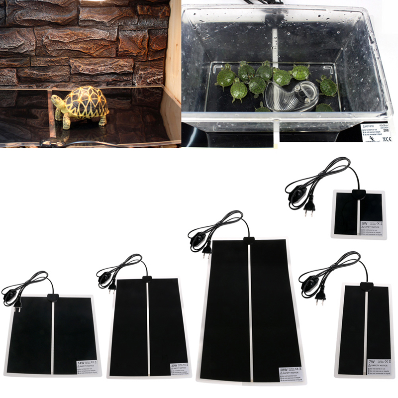 1pc 5/7/14/20/28w Us Plug Adjustable Temperature Reptile Heating Pet Warmer Bed Mat Jun13