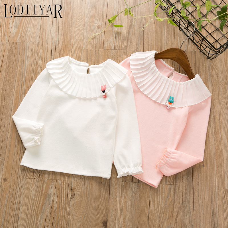 LODIIYAR Long Sleeve White T-shirts For Girl England Style Pleated Clown Collar Girls Sweatshirts Kids Clothes Fall Winter Tops