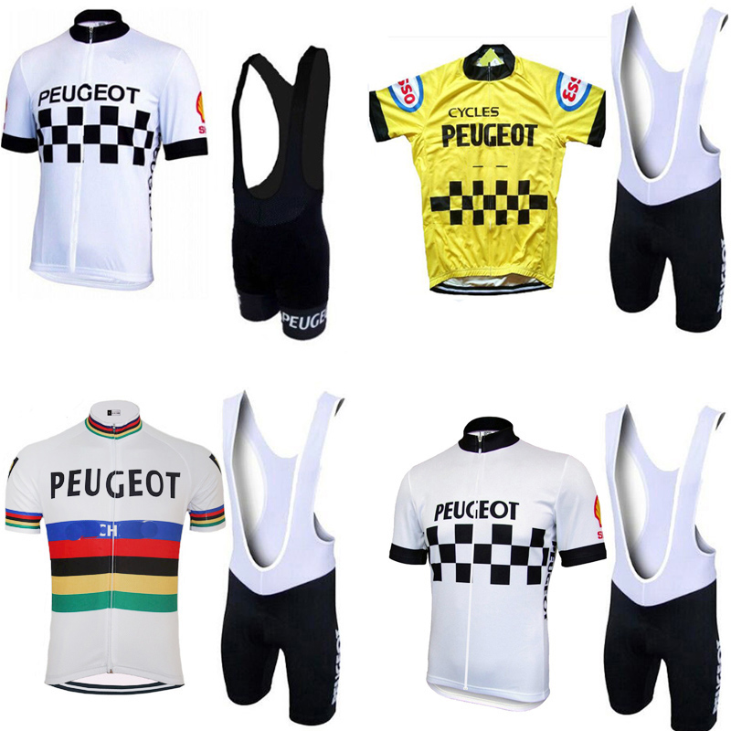 NEW Man White / Yellow Vintage Cycling Jersey Set Short Sleeve Cycling Clothing Riding Clothes Suit Bike Wear Shorts Gel Pad