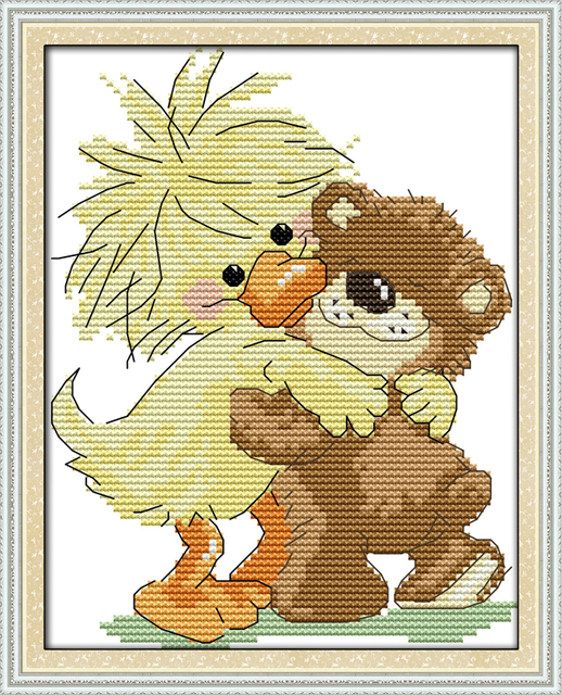 Joy Sunday Cartoon Style A Yellow Baby Duck Mini Counted