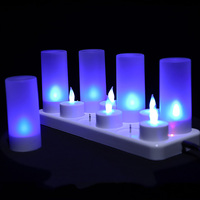 Pack of 6 or 12 Blue Red Green Led Flameless Rechargeable Tea Light Candles,Battery Tealights With Plastic Cup