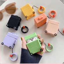 For AirPods Case Bluetooth Wireless Earphone Apple Airpods 2 Suitcase Trunk Luggage Cover With Finger Ring Strap