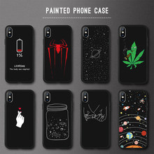 3D Relief Phone Case For iPhone 6s 6 7 8 Plus 5 5s SE Cover Cute Cartoon Love Heart Soft TPU Black Case For iPhone XR XS Max X(China)