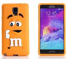 3D М & М Шоколад Чехол Для Samsung Galaxy Note 4 Coque Силиконовый чехол Милый Funda Carcasa Для Capa Para Samsung note4 Capinha