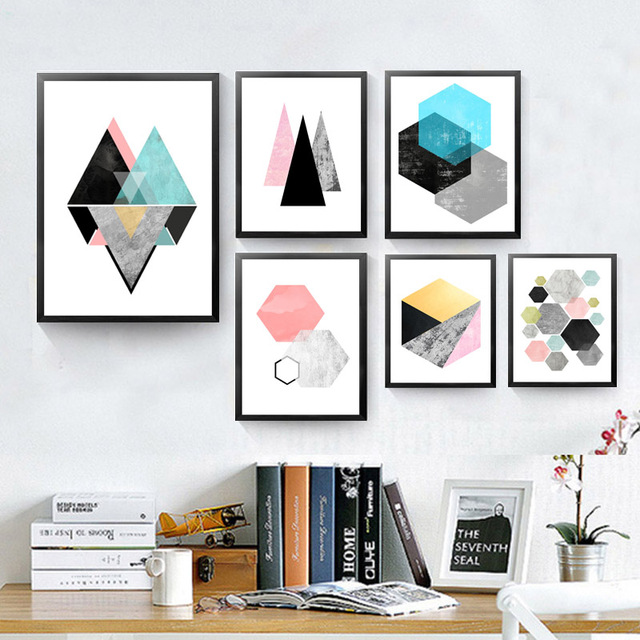 nordic moderne geometrische form leinwand drucke bilder. Black Bedroom Furniture Sets. Home Design Ideas