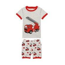 Pijama infantil para caminhão de incêndios, pijama estampado para crianças, meninos, verão, 2019