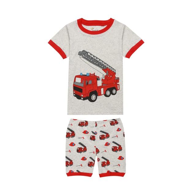 6c747d045 2019 Summer Boys Fire Truck Pajamas Children Excavator Print Pajama ...