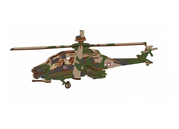 Diy Handmade Wooden Simulation Apache Helicopter Motor Model 3d Three-dimensional Wooden Jigsaw Puzzle Toys for Children