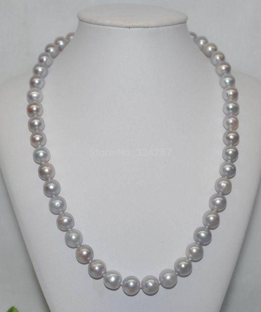 100% Venta de Imagen completa GORGEOUS! Natural Rare gris 9-10mm ronda Collar de Perlas cultivadas
