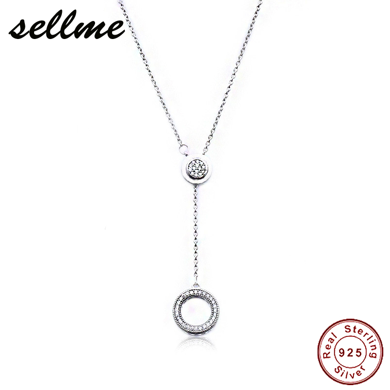 2018 Pre Autumn 925 Sterling Silver Original Signature Pan Necklace With Clear CZ For Women Charm Gift DIY Jewelry