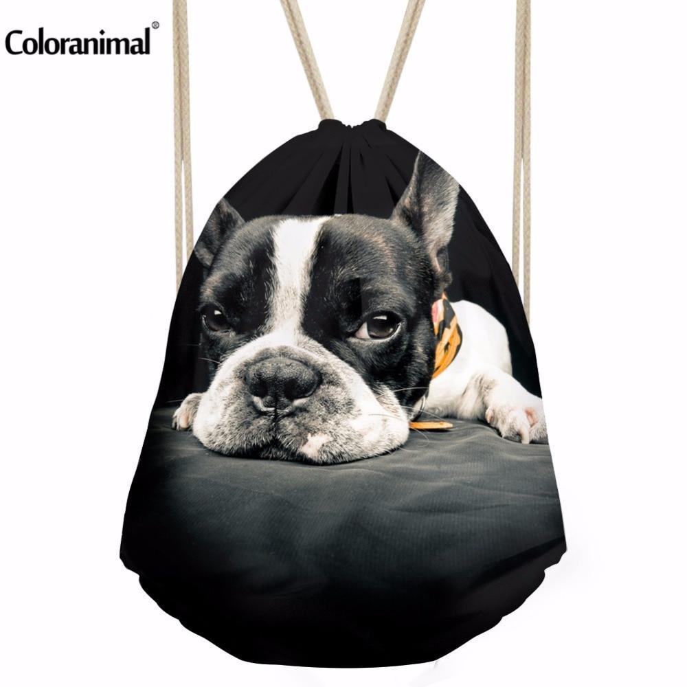 Coloranimal Fashion Dog Printed Drawstring Bags For Teengers Boys Mens Portable String Backpack Travel Bag Beach Bag Cinch Sack