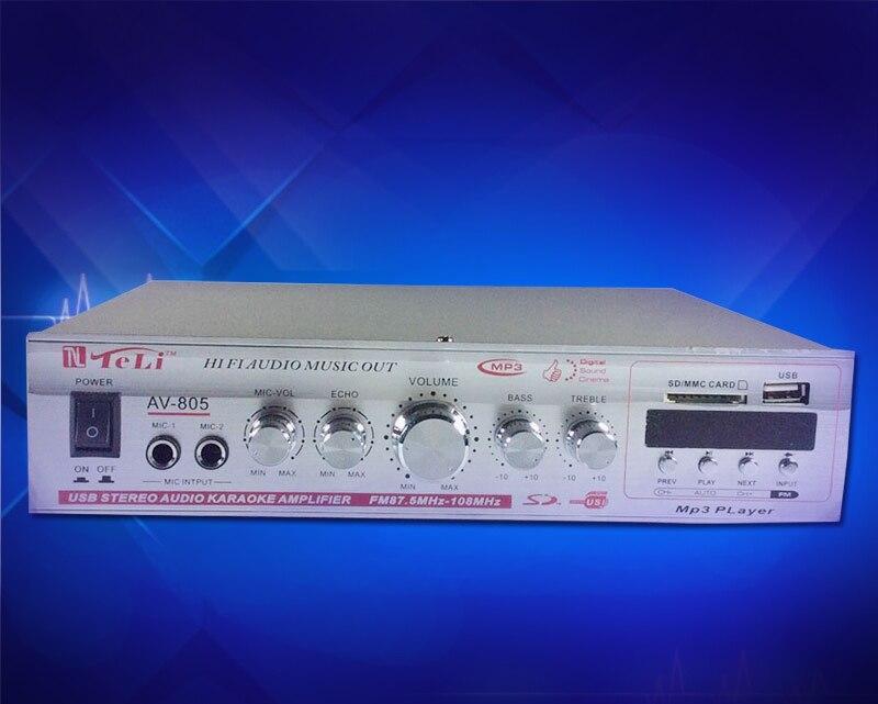 AV-805 HIFI amplifier karaoke with display USB/SD/ fm radio/ remote control function 12v/220v high power 200w power amplifier 220v 240v 200w 200w sunbuck av mp326c professional digital echo mixer amplifier home karaoke amplifier with eq equalization