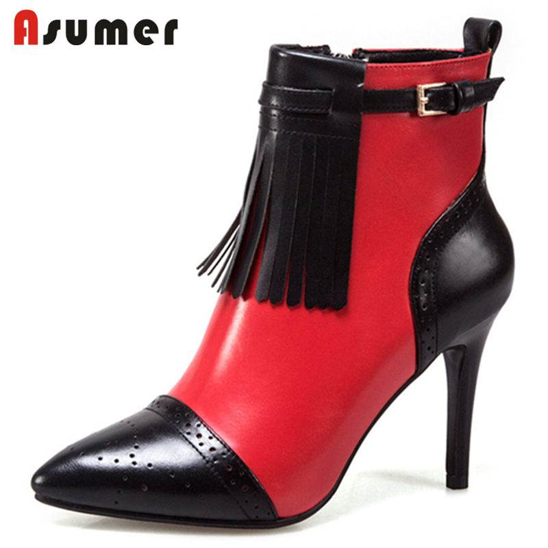 ASUMER NEW 2018 fashion genuine leather boots zipper ankle boots women thin high heels pointed toe autumn boots SIZE 33-43ASUMER NEW 2018 fashion genuine leather boots zipper ankle boots women thin high heels pointed toe autumn boots SIZE 33-43