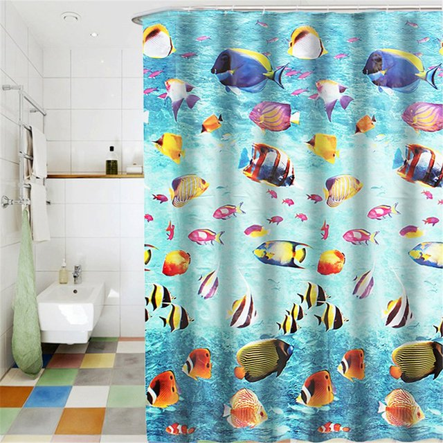 Modern Waterproof Shower 3D Underwater World Shower Curtain Bathroom Curtain  Fish Curtains For Bath Room