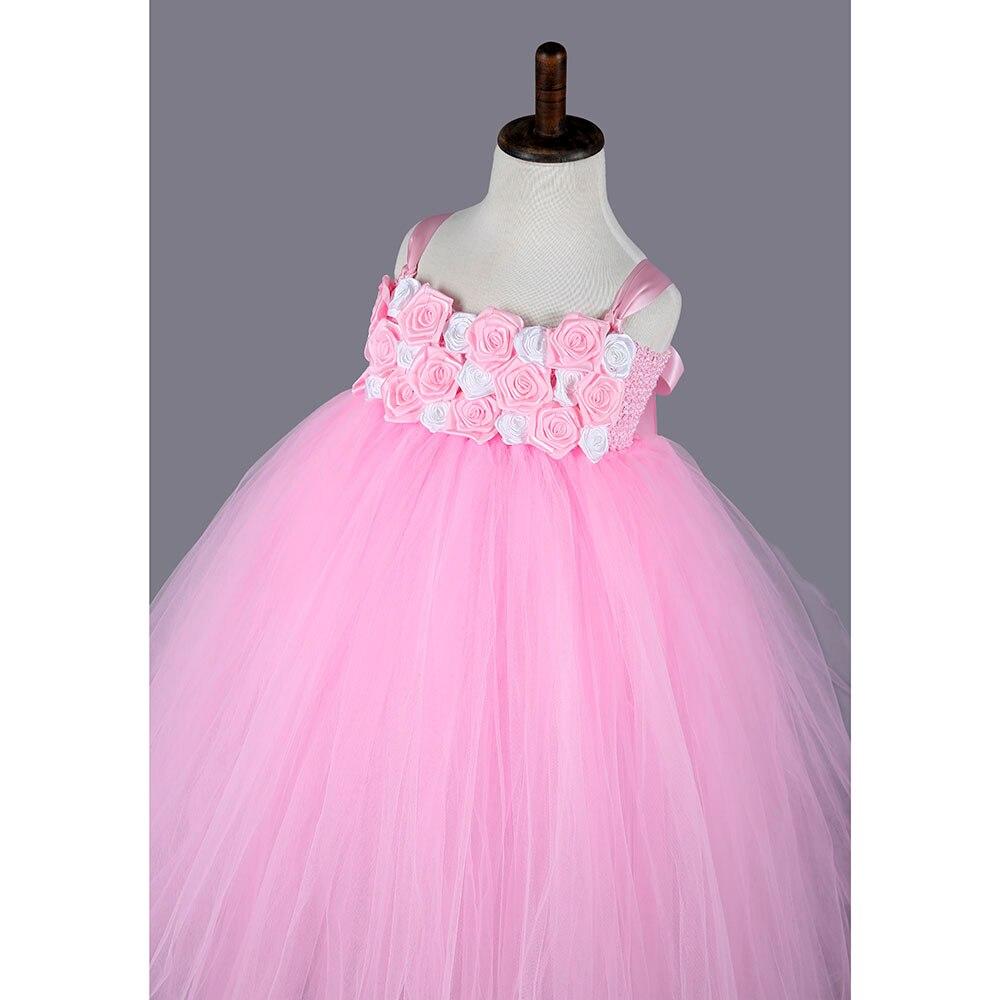 Princesa Pink Girl Vestidos De Fiesta Rosa Rosa Blanca Flor Niñas ...