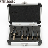 5pc Large Cobalt Step Drill Bit With Case HSS Step Titanium Core Drill Multiple Hole Cutter