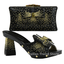 New Arrival Black Color Nigerian Wedding Shoe and Bag Set Decorated with  Rhinestone Sales In Women Matching Shoes and Bag Sets 810941d7b1b5