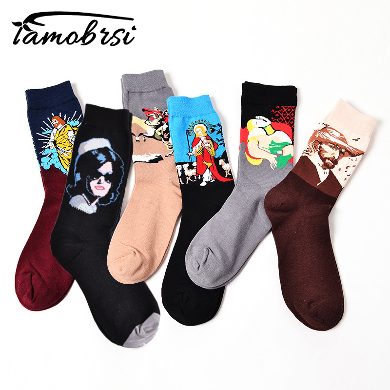 Socks Funny Retro Art Painting Character Pattern For Women Men Ox Calcetines Van Gogh Socks Paragraph Abstract Art Oil Painting