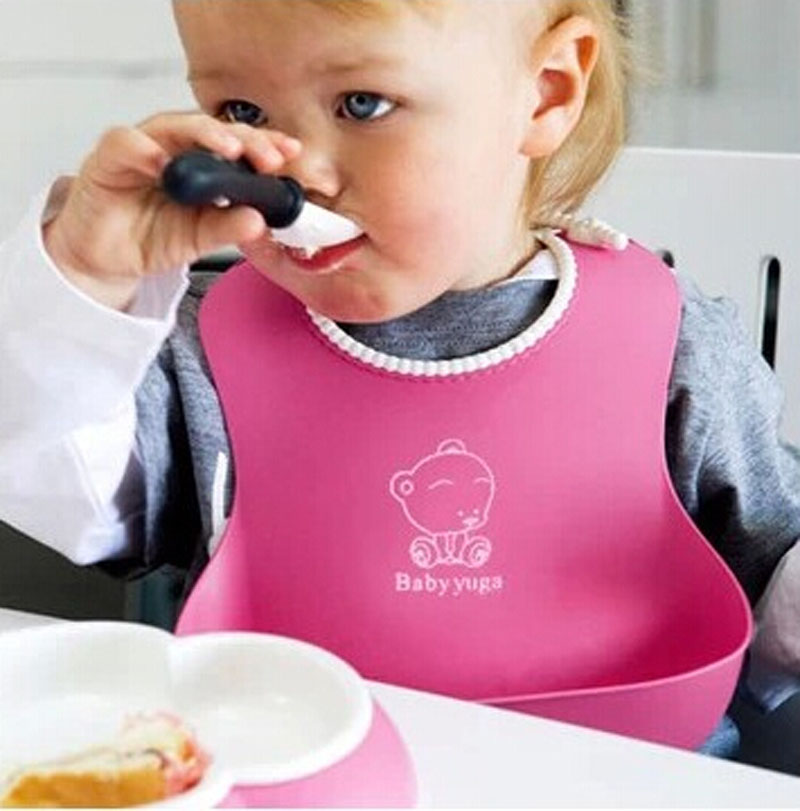 CHAMSGEND dropship four colorful Baby Kids Cute Silicone Bibs Baby Lunch Bibs Cute Waterproof 27cmx22cm Q30 AUG30