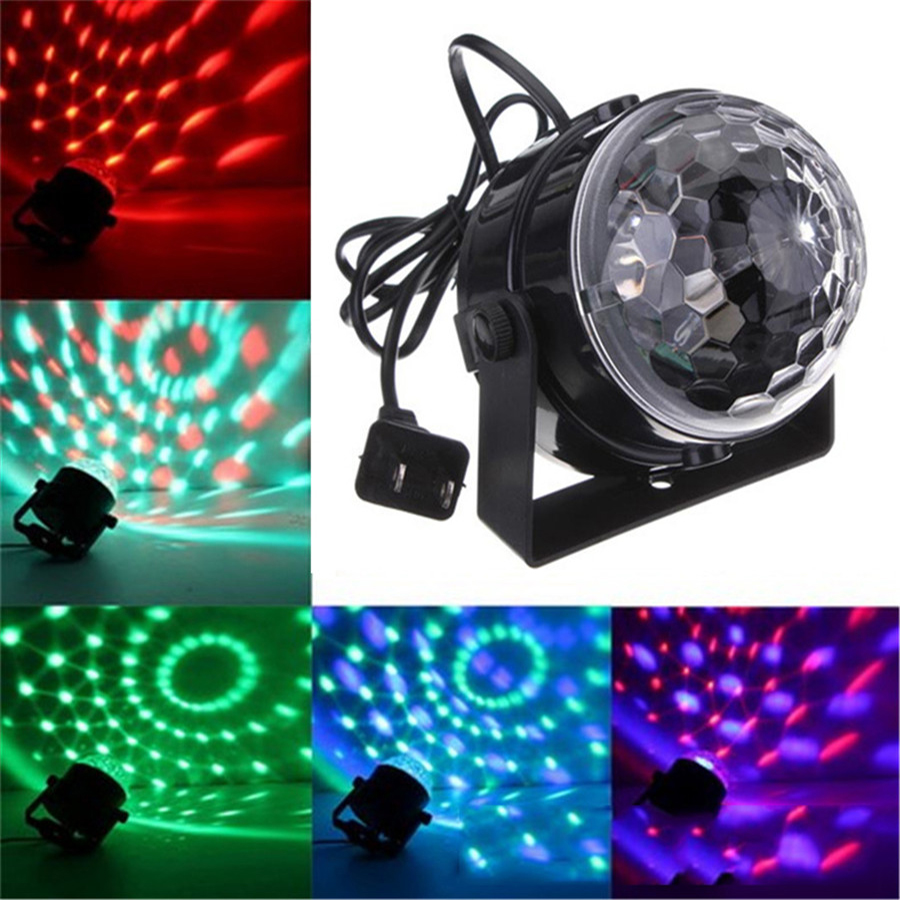 Voice Control Mini RGB LED Crystal Magic Ball Stage Lighting Effect Lamp Bulb Party Disco Club