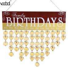2018 DIY Wooden Hanging Calendar Family Friends Family Birthday Reminder Calendar Sign Board Planner Home Office Decor