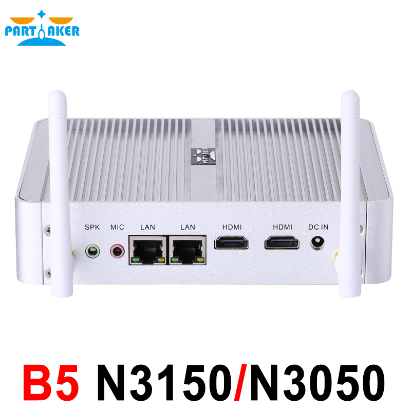 Partaker B5 Mini PC Dual Core 2 Ethernet LAN Router Firewall Intel Celeron N3150 N3050 PfSense Fanless