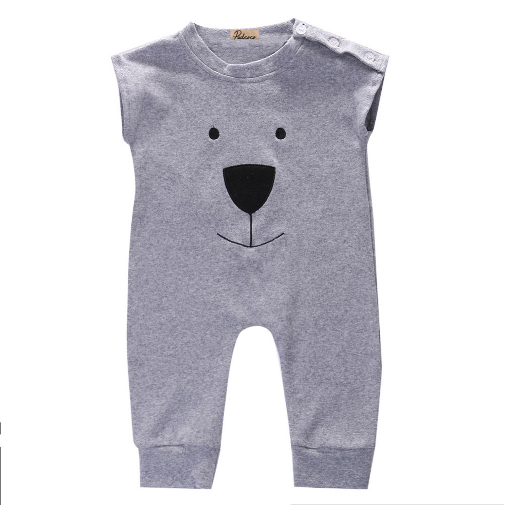2017 Wholesale Retail Newborn Baby Rompers For Girl Boy Bear Sleeveless Fleece Summer One-piece Rompers Jumpers Outfits